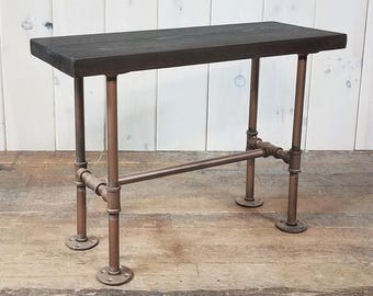 Wood & Steel Pipe Bench/Low Table Dark Antique Finish on Seat Aged Copper Finish on Base