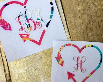 Vinyl decal / Vinyl sticker / Monogram sticker / Monogram decal / Heart sticker / Heart decal / Personalized decal / Yeti cup decal / Yeti