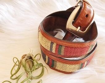Vintage Brown Southwestern Leather Belt / Western Belt / Brown Leather Belt Size Small