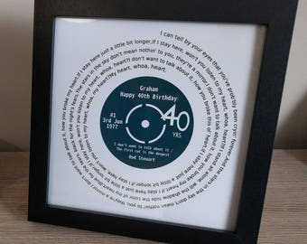 Record Lyrics Print, Personalised For A Special Occasion