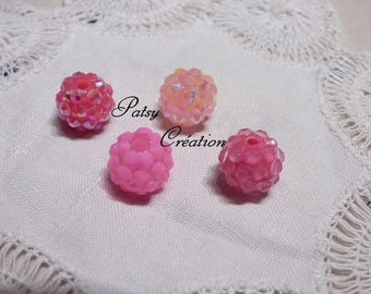 SET OF 4 DIFFERENT BEADS TONE RESIN ROSE