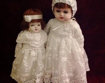 SOLD | Sweetest Little Antique Papier Mache Sister Dolls