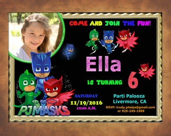 PJ Masks Invitations - PJ Masks Birthday Party Invitation - Digital File