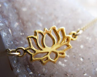 Lotus Flower Necklace, Gold Necklace, 14K Gold Filled Necklace, Delicate Necklace, Flower Necklace, Layering Necklace, Zen Necklace
