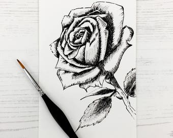 Black and white rose print (single print), He makes all things beautiful in its time, ink, home decor, Bible art, Christian art