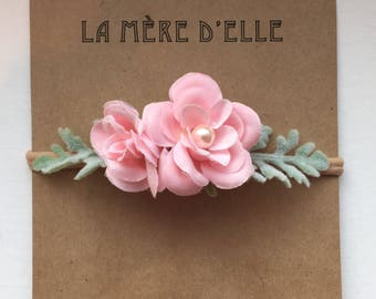 Baby girl headband Spring Collection Pink Pearl