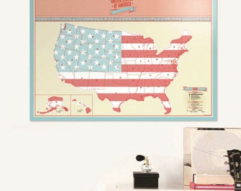 Scratch off US map, Mark your travels and Vacations Around United States personal gift, wedding gift, anniversary gift