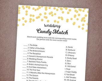 Candy Match Bridal Shower Game Printable, Match the Candy, Gold Glitter Confetti, Wedding Candy Match, Instant Download, A001