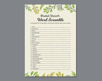 Green Bridal Shower Word Scramble Game Printable, Plants, Leaf, Wedding Party Game, Bridal Shower Activity, Word Search, Find Words, A011