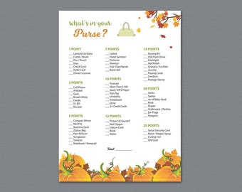 Whats in your Purse Game, Fall Autumn Bridal Shower Games Printable, Purse Hunt Game, Purse Raid, Glitter, Wedding Shower, Bag Hunt, A022