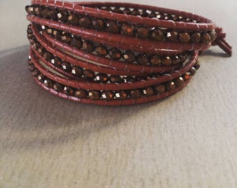 Chan Luu style bracelet wrap, 4 turns, leather and Czech beads,