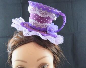 Purple Polka Dot Mini Top Hat Fascinator tea Party Mad Hatter