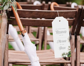Reserved Wedding Ceremony Seating Tag, Reserved Chair Tags, Wedding Ceremony Reserved Seat Sign, Wedding Chair Tag Template - KPC05_406