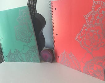 Spiral notebook-HardCover- Hand Drawn Flower Designs