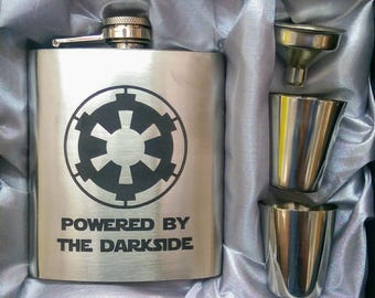 Powered By Dark Side Star Wars Edition // Engraved Flask //His Gift  // Fun Flask // Party Favors // Men Flask // 21st Birthday Gift // 7 oz