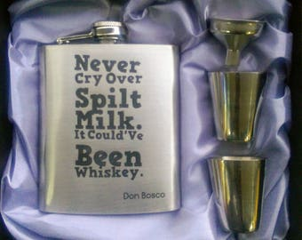 Never Cry Over Spilt Milk Edition // Engraved Flask // His Gift  // Fun Flask // Party Favor // Men Flask // 21st Birthday Gift // 7 oz