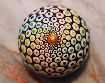 Hand Painted Mandala Ball- original one off painted rock Acrylic Chakra 45mm Marble Painting