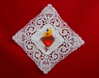 Hand Painted Badge of The Sacred Heart Lace