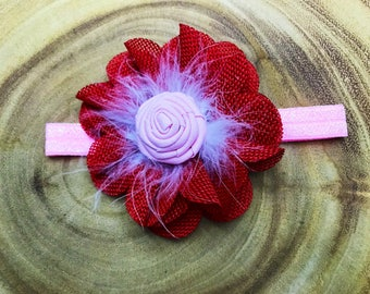 Valentines headband, Valentines Day headband, heart headband, red headband, pink headband, flower headband, floral headband, baby headband