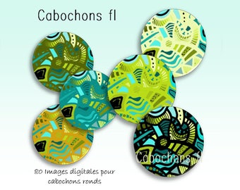 Digital images for round cabochons graphic