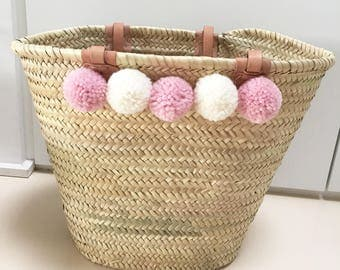 Ibiza bag with PomPoms light pink and white