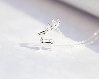 Cute little deer pendant necklace birthday gift ornament elk Christmas gift