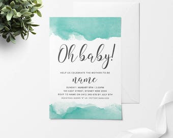 OH BABY, Baby Shower Invitation, Printable Baby Shower Invitation, DIY Baby Shower Invitation, Mint Baby Shower, Mint Baby Shower Invite
