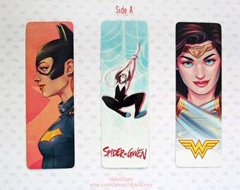 Marvel DC Superheroes Double sided Bookmarks pack of 3