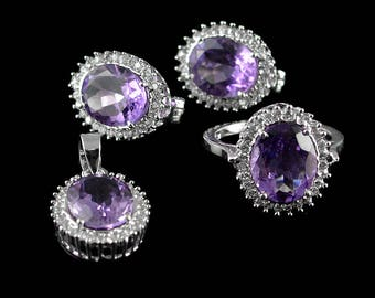 Exquisite Natural Oval Cut 9x11 mm Top Class Purple Amethyst, Cubic Zircoina 925 Sterling Silver Jewelry Sets , Ring Size 8 , 8.5 US