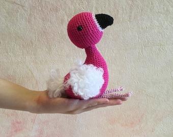 Crochet pink flamingo, crochet flamingo, pink flamingo, knit flamingo, crochet bird, knit bird, bird, crochet toy, toy flamingo, soft bird