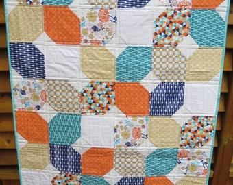 Baby Quilt, Crib Quilt, Handmade, Half Snowball quilt block