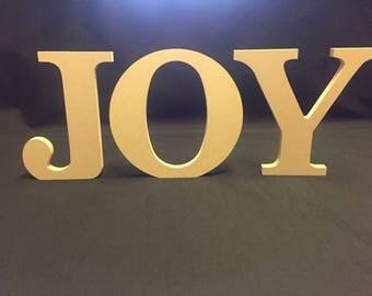 JOY Set of 3 Self Standing Wooden Letters - Unpainted