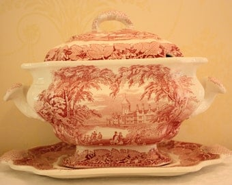 Mason's Ironstone Pink Vista, Red Vista, Large soup tureen set, lid and under plate,  vintage transfer ware