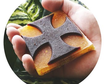 IRON CROSS Vegan soap -  Exfoliating Glycerin Soap  with almond oil