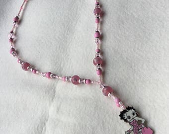 Pretty pink beaded Betty boop necklace