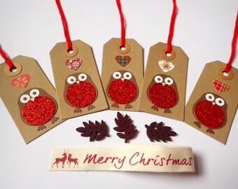 Christmas Gift Tags - Handmade Gift Tags - Set of 5 Christmas Gift Tags - Robin Gift Tags - Christmas Present Tags - Gift Tags - Xmas Tags