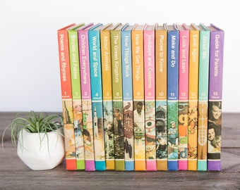 Vintage Children's Books, Mid Century Book Set, Childcraft Books, 15 Volume Set, Old Kids Books, Learning Books, Nursery Decor, Baby Gifts
