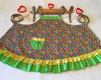 Cute as a bug little girl's apron, Apron for little girl, Little girl's apron