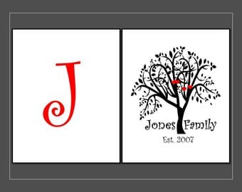 Family Tree Wall art , Personalized Family Tree, Customed Wall art,  Black and Red Family Tree, Set of 2, 8x10, 11 x14
