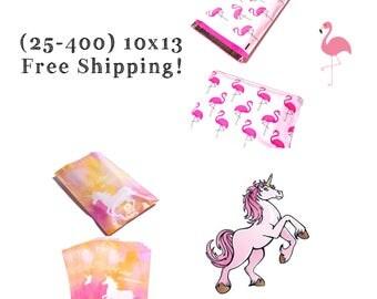 "FREE SHIPPING! (25-400 Pack) 10x13"" Pink Flamingo/Unicorn Mix Designer Poly Mailers"