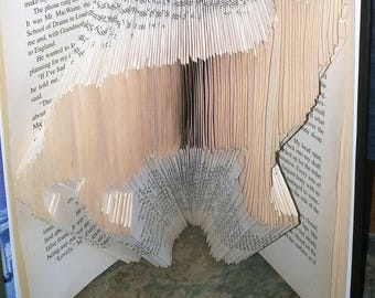 Cat, Book Fold, Book Art, Book Folding Cat, Cat Gifts, Cat Lovers Gifts, Original Gifts, Birthday Gifts, Anniversary Gifts, Book Craft Art,,