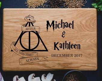 Harry Potter ALWAYS, Personalized Cutting Board ,monogram cutting board, Family Established sign,Custom cutting boards Wedding Gift harry01