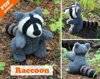 Stuffed animal patterns - Raccoon sewing pattern. Racoon plush toy PDF pattern. Softie DIY toy - pattern & tutorial.