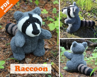 Stuffed animal pattern - Raccoon sewing pattern.  Softie DIY toy - pattern & tutorial.