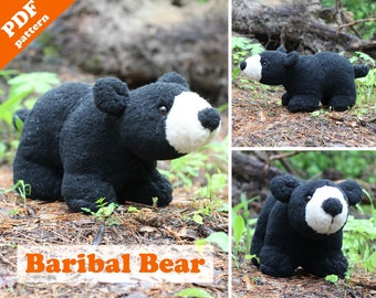 Soft toy pattern - Baribal bear. Stuffed black bear PDF sewing pattern. DIY softie toy.