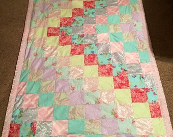 Birds, Butterflies and flowers lap/twin handmade quilt