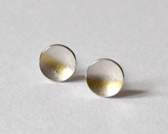 circle ear studs silver with gold