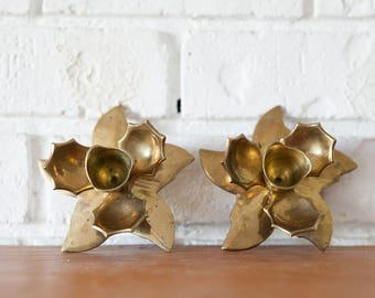 Two Vintage Brass Lotus Candle Holders