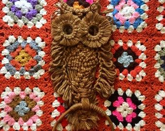 Vintage Jute Macrame Owl