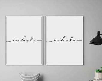 Inhale Exhale Print, Yoga Print, Pilates Poster, Relaxation Gifts, Breathe Print, Inspirational Print, Minimalist Typography Art
